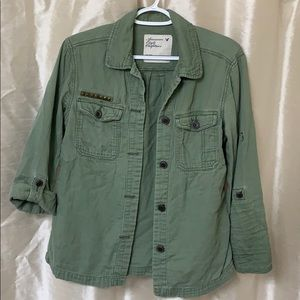 American eagle, army green, olive green, button up